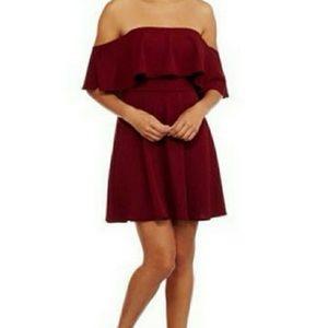 HOT GAL BURGUNDY RED RUFFLE DRESS